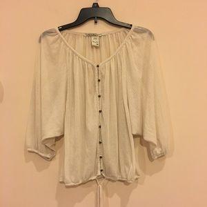 American Rag cream Sheer peasant blouse, Juniors M
